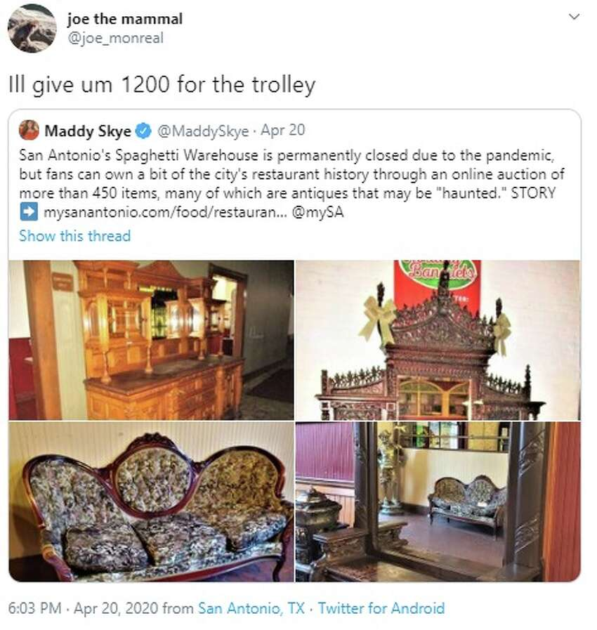 It's unclear if RCI South Texas Auctions is exploring the option. Ozwas not immediately available to comment on what will become of the trolley. The online auction ends May 3 at 7:3o p.m. RCI Auctions will host an onsite preview day to allow bidders a chance to inspect the items in person from 11 a.m. to 2 p.m. May 1-2. The auctioneer said online that both the preview event and item pickup process will adhere to social distancing guidelines. Arranging appointments is encouraged by calling 210-264-4176.