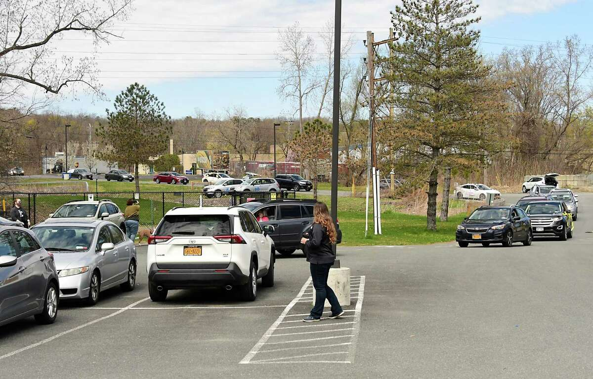Mohawk Hudson Humane Society volunteers hold a car parade with over 30 vehicles to thank essential staff for the care they have been providing for over 100 animals at the MHHS on Thursday, April 23, 2020 in Menands, N.Y. (Lori Van Buren/Times Union)