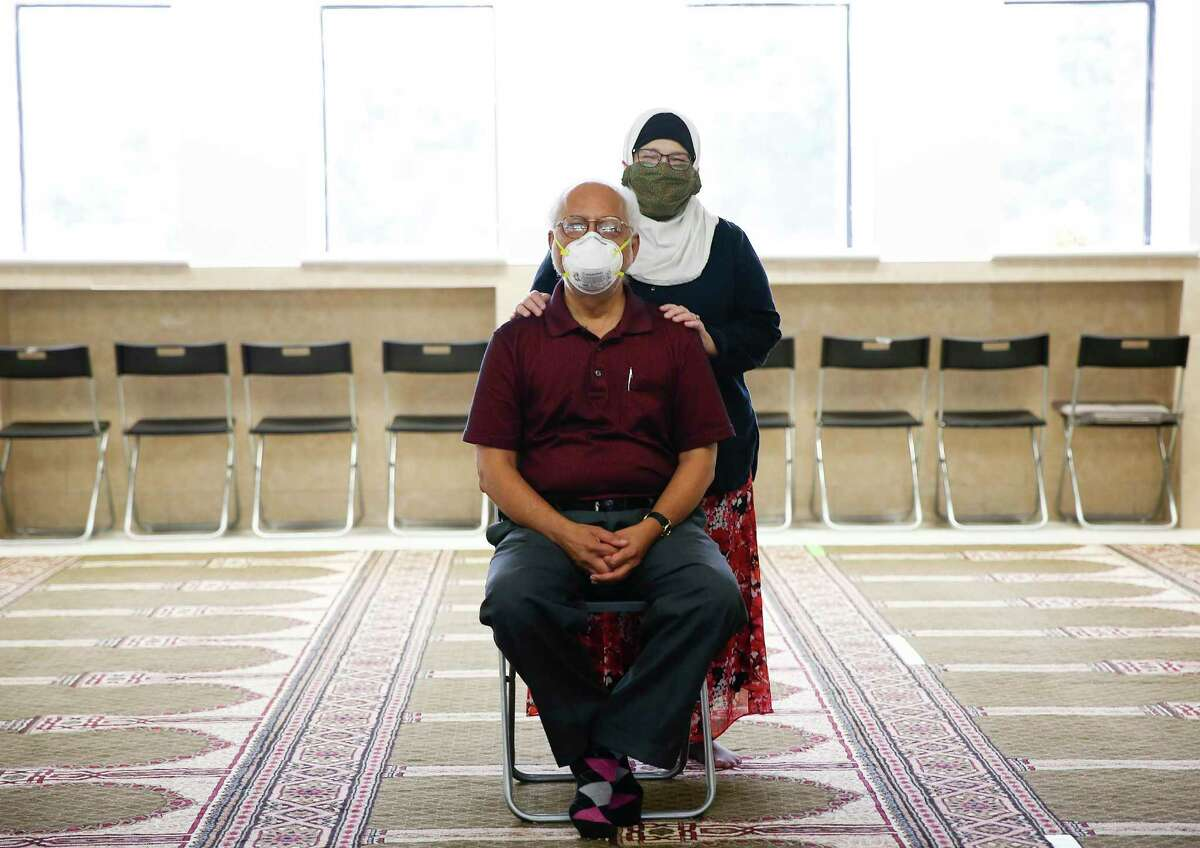 Mohammed Nasrullah and his wife, Ruth, at the Clear Lake Islamic Center in Houston on Wednesday, April 22, 2020. Mohammed is over 24 hours into a 48-hour fast before Ramadan to raise money for the Houston Food Bank.