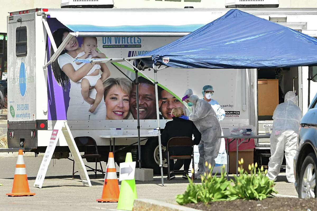 A person gets tested at one of the rotating Albany County COVID-19 testing locations at Watervliet Health Center on Thursday, April 23, 2020 in Watervliet, N.Y. (Lori Van Buren/Times Union)