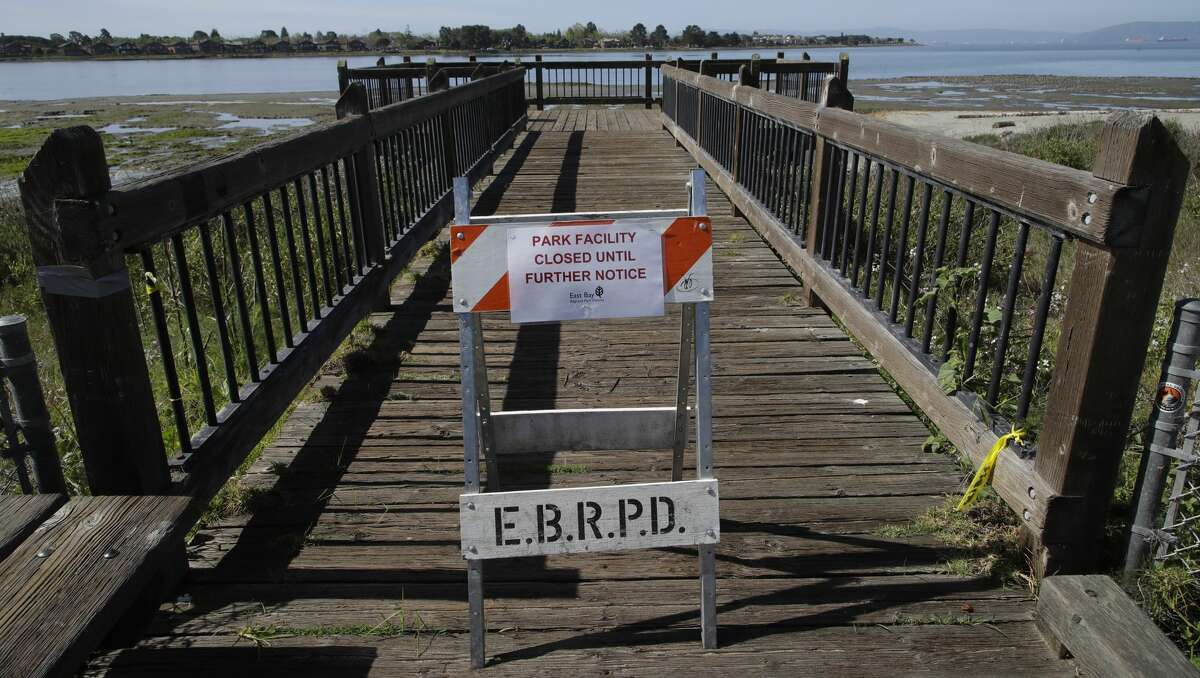 A platform for bird viewing is shut down until further notice Wednesday, April 22, 2020, at the Elsie B. Roemer Bird Sanctuary at Robert W. Crown Memorial State Beach in Alameda, Calif.