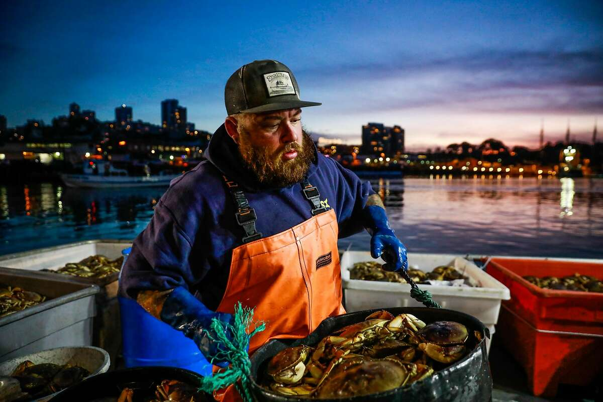 Fisherman Jake Wilson caries a bucket of Dungeness crab as he hauls it ashore at Fisherman's Wharf on Pier 45 in San Francisco, California, on Sunday, Dec. 15, 2019.