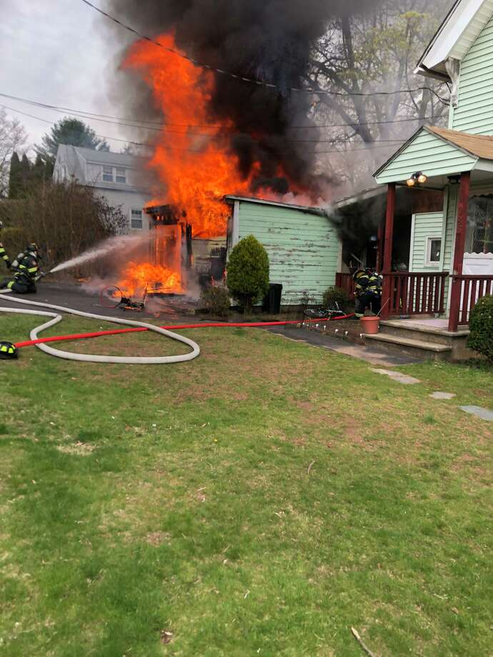 Hamden firefighters extinguished a fire on Evergreen Avenue in Hamden, Conn., on Thursday, April 23, 2020. Photo: Contributed Photo / Hamden Fire Chief Gary Merwede