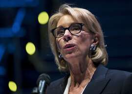 """FILE - In this Sept. 17, 2018 file photo, Education Secretary Betsy DeVos speaks during a student town hall at National Constitution Center in Philadelphia. The latest Nation's Report Card shows eighth-graders' scores in U.S. history and geography declining since 2014. DeVos on Thursday, April 23, 2020 called the results  """"stark and inexcusable.""""  (AP Photo/Matt Rourke, File)"""