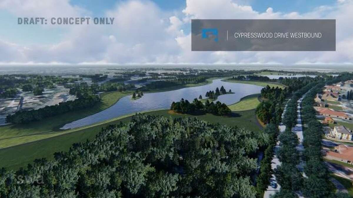 A rendering shows one concept for the Champions Stormwater Detention Basin, which the Harris County Flood Control District intends to build on the Raveneaux Country Club property. This is just one potential design the HCFCD is considering.