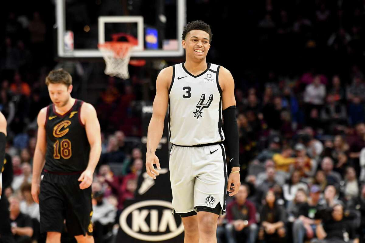 CLEVELAND, OHIO - MARCH 08: Keldon Johnson #3 of the San Antonio Spurs reacts during overtime against the Cleveland Cavaliers at Rocket Mortgage Fieldhouse on March 08, 2020 in Cleveland, Ohio. The Cavaliers defeated the Spurs 132-129. NOTE TO USER: User expressly acknowledges and agrees that, by downloading and/or using this photograph, user is consenting to the terms and conditions of the Getty Images License Agreement. (Photo by Jason Miller/Getty Images)