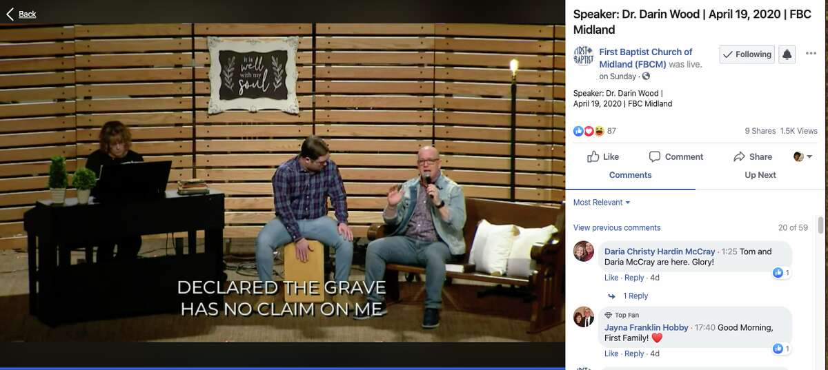 First Baptist Church of Midland service streamed on Facebook on Sunday, April 19, 2020.