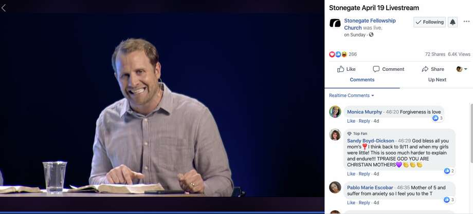 Stonegate Fellowship service streamed on Facebook on Sunday, April 19, 2020. Photo: Courtesy Photo