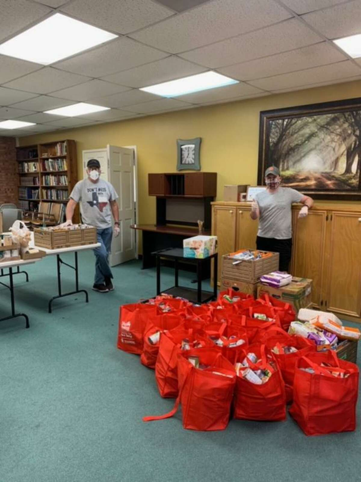 Pasadena First Church of Nazarene donated nonperishable goods from their currently closed pantry to Sunset United Methodist, which is serving families in need.