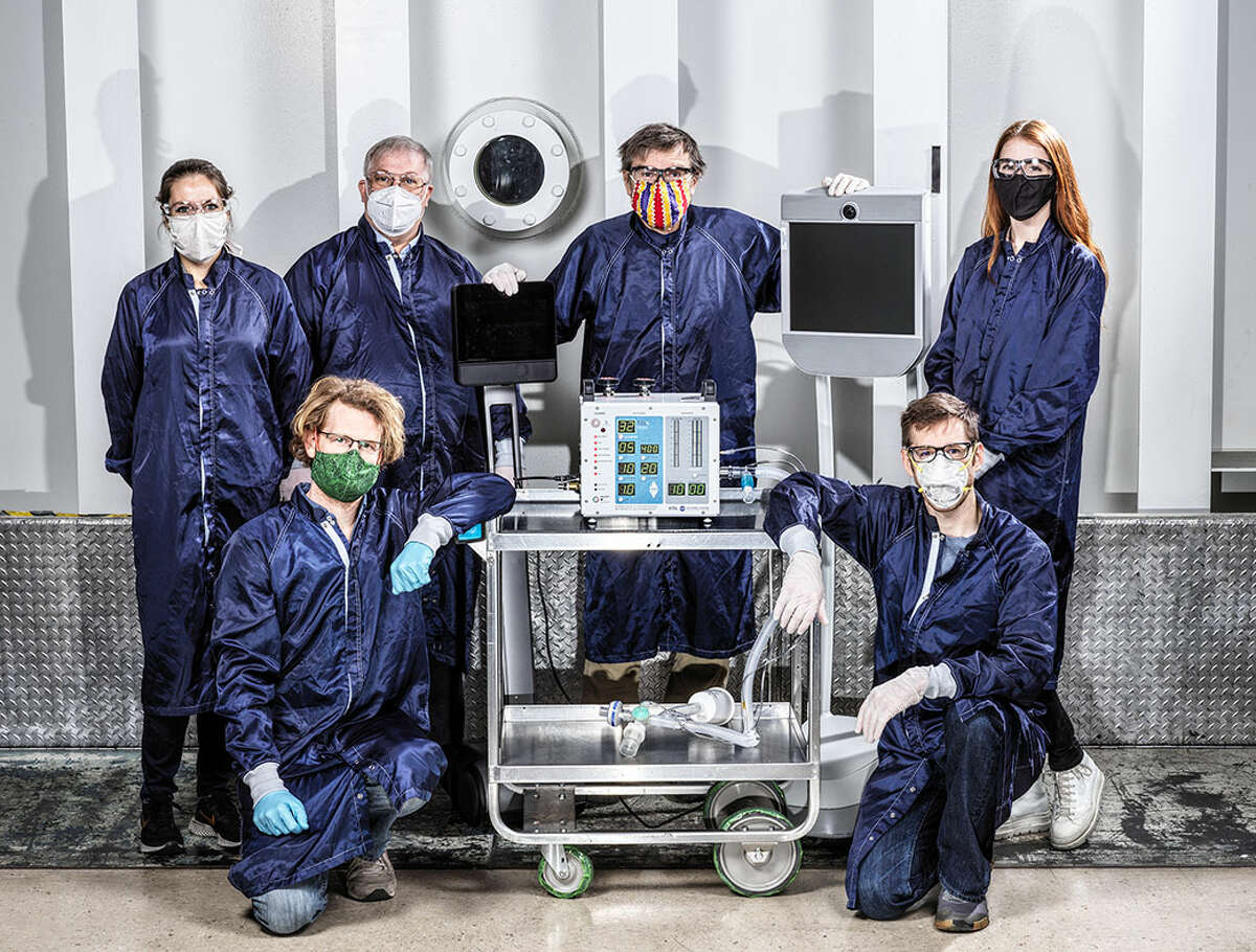 Pictured are some of the engineers from NASA's Jet Propulsion Laboratory in California who helped create a ventilator designed specifically for COVID-19 patients.