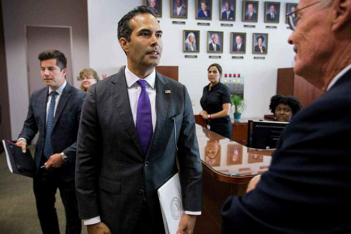 George P. Bush, commissioner of the General Land Office arrives to discuss long-term Hurricane Harvey recovery funds during a news conference at the Houston City Hall Annex on Thursday, June 28, 2018, in Houston. The recovery efforts include the first round of funding for buyouts through CDBG-DR funds.( Brett Coomer / Houston Chronicle )