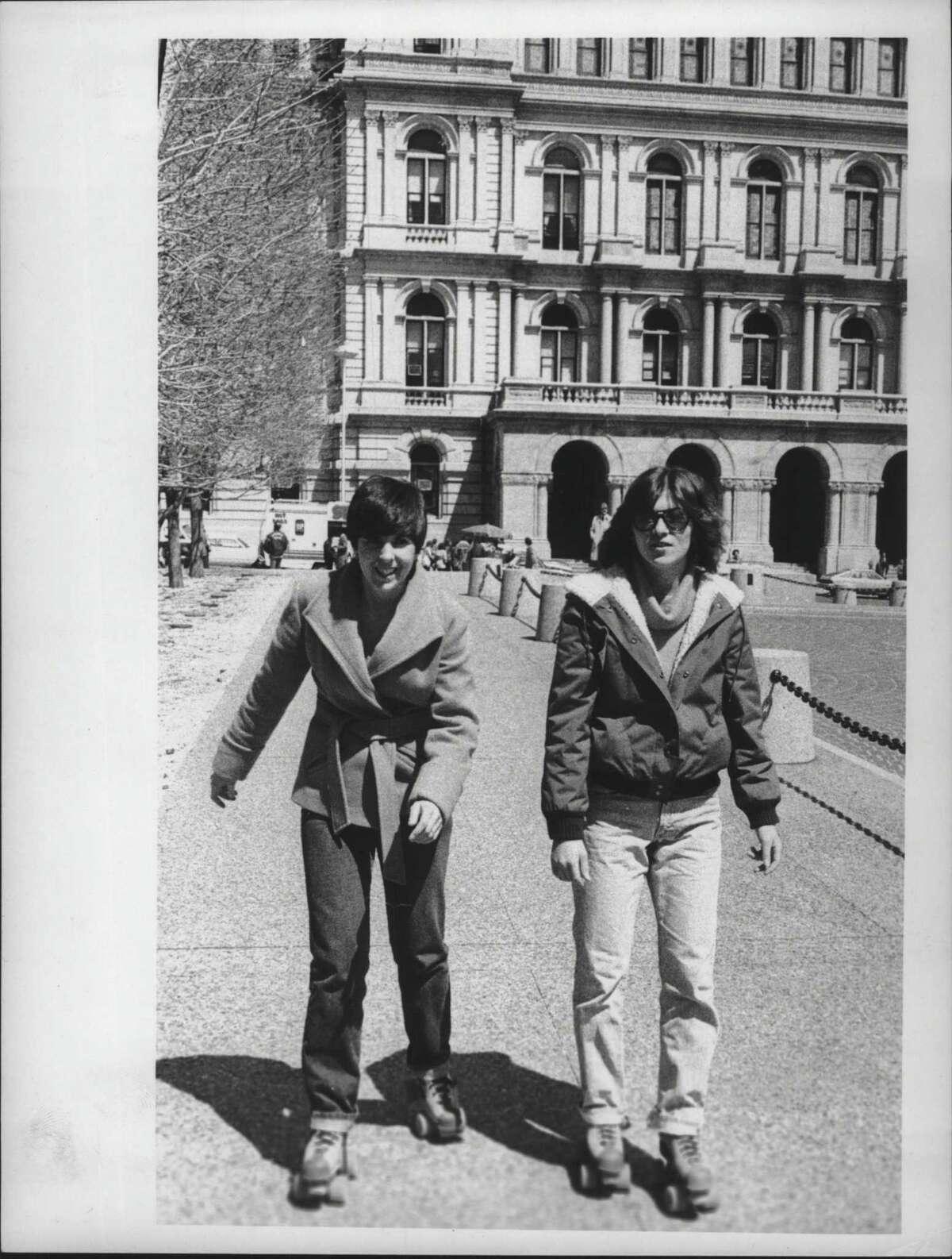 Sue Valente & Sue Morse roller skate in Albany, New York. April 24, 1980 (Times Union Archive)