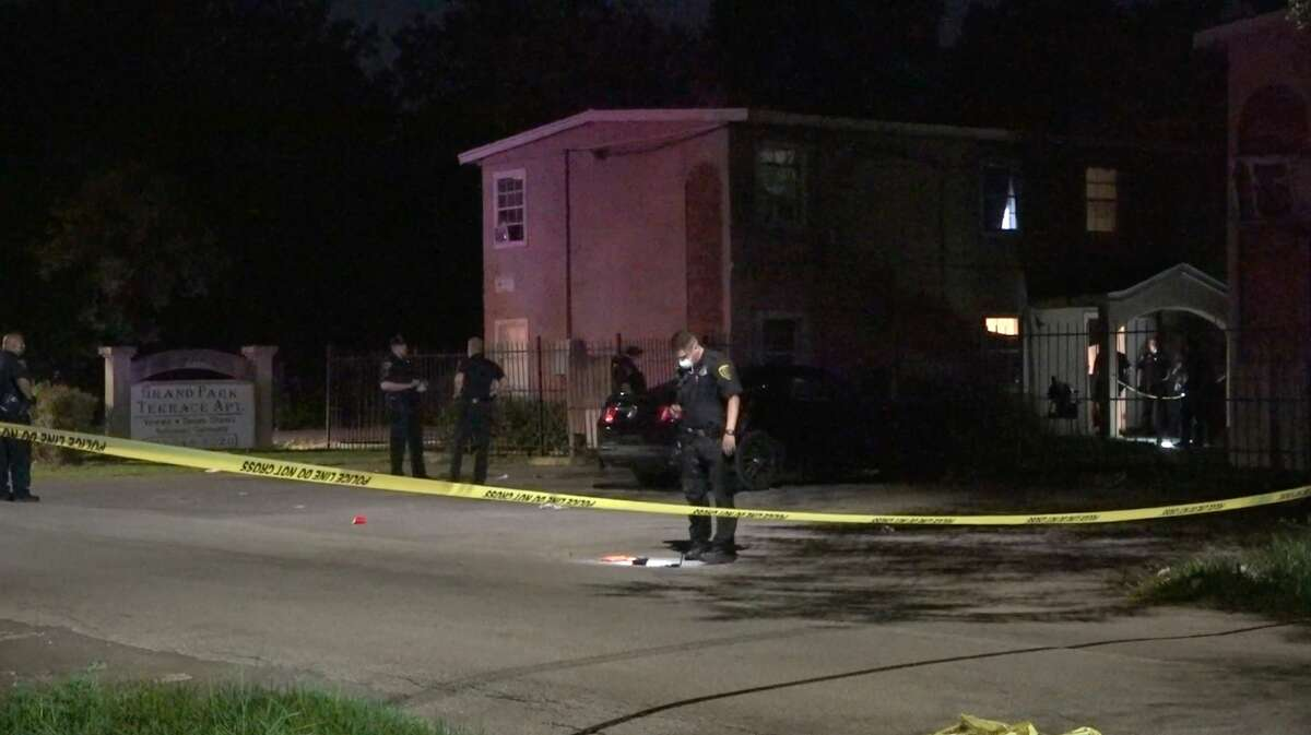 Houston police investigate a shooting that left three people dead and another fighting for his life in the 4700 block of Ward on Friday, April 24, 2020.