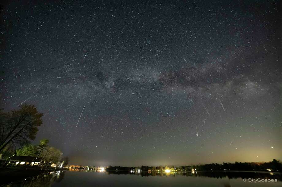 Chuck Dryer, of Beaverton, shares this composite photo of this week's Lyrid Meteor Shower over Wixom Lake. (Photo provided/Chuck Dryer) / © SkyScapes