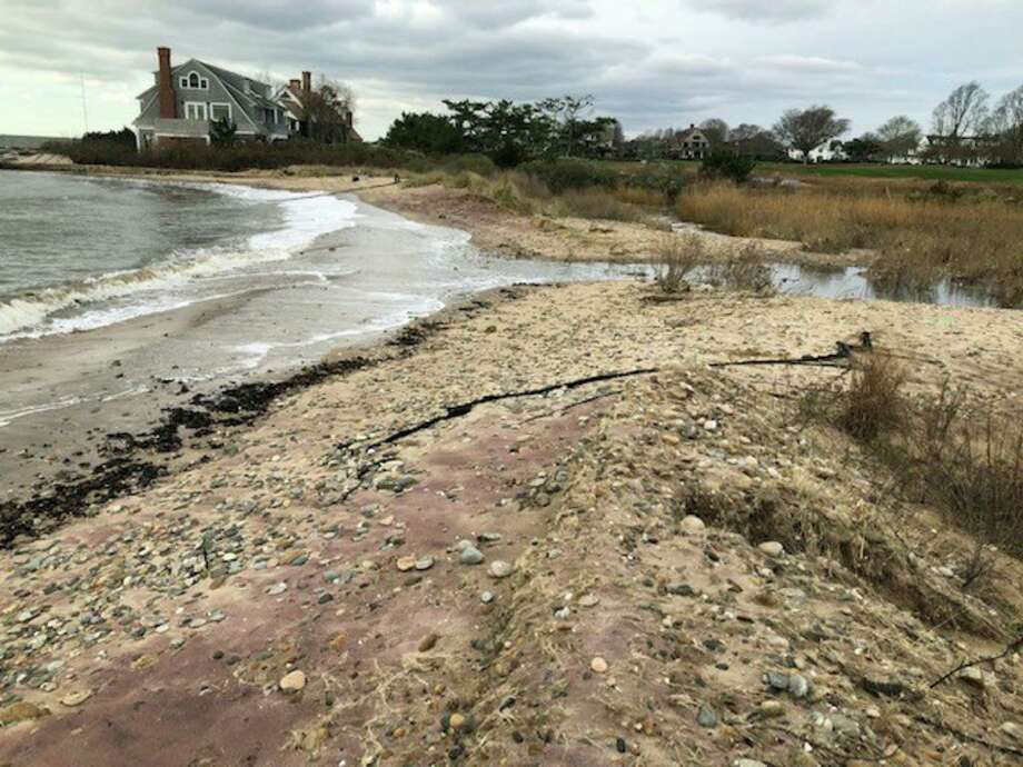Looking east. Long Island Sound is on the left, it shows the dune breached. Photo courtesy of the Borough of Fenwick. Photo: Contributed /