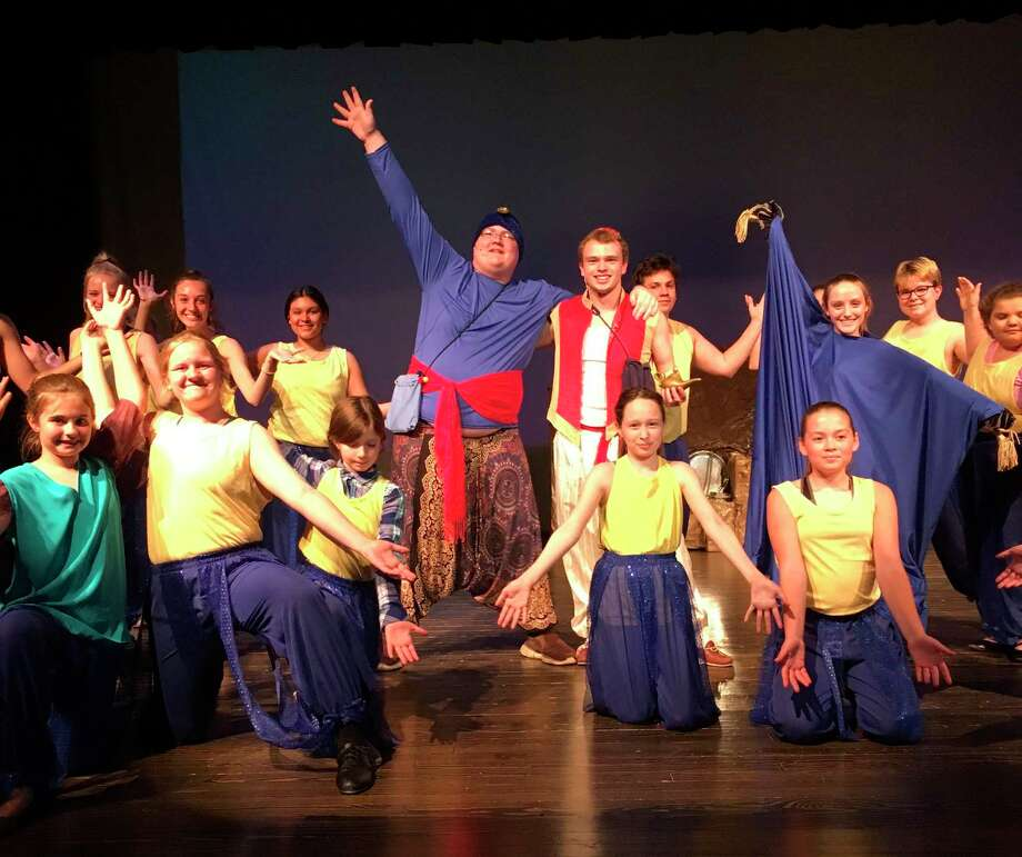 """Shown are members of the three school play """"Aladdin Jr."""" that was performed last year by students from Bear Lake Onekama Consolidated and Brethren schools. This year's play """"Frozen Jr."""" was canceled this year due to the COVID-19 pandemic."""