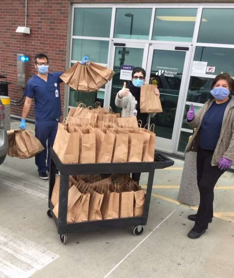 Norwalk Hospital emergency room workers received 120 lunches from Bodega and Bistro Baldanza this week via Corbin Cares. Photo: Corbin Cares /