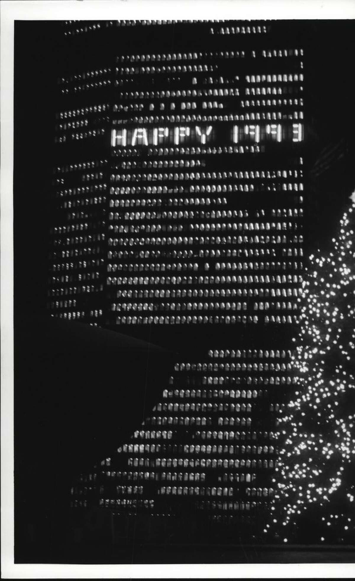 """""""Happy 1993"""" is portrayed in lights on Corning Tower in December 1992."""