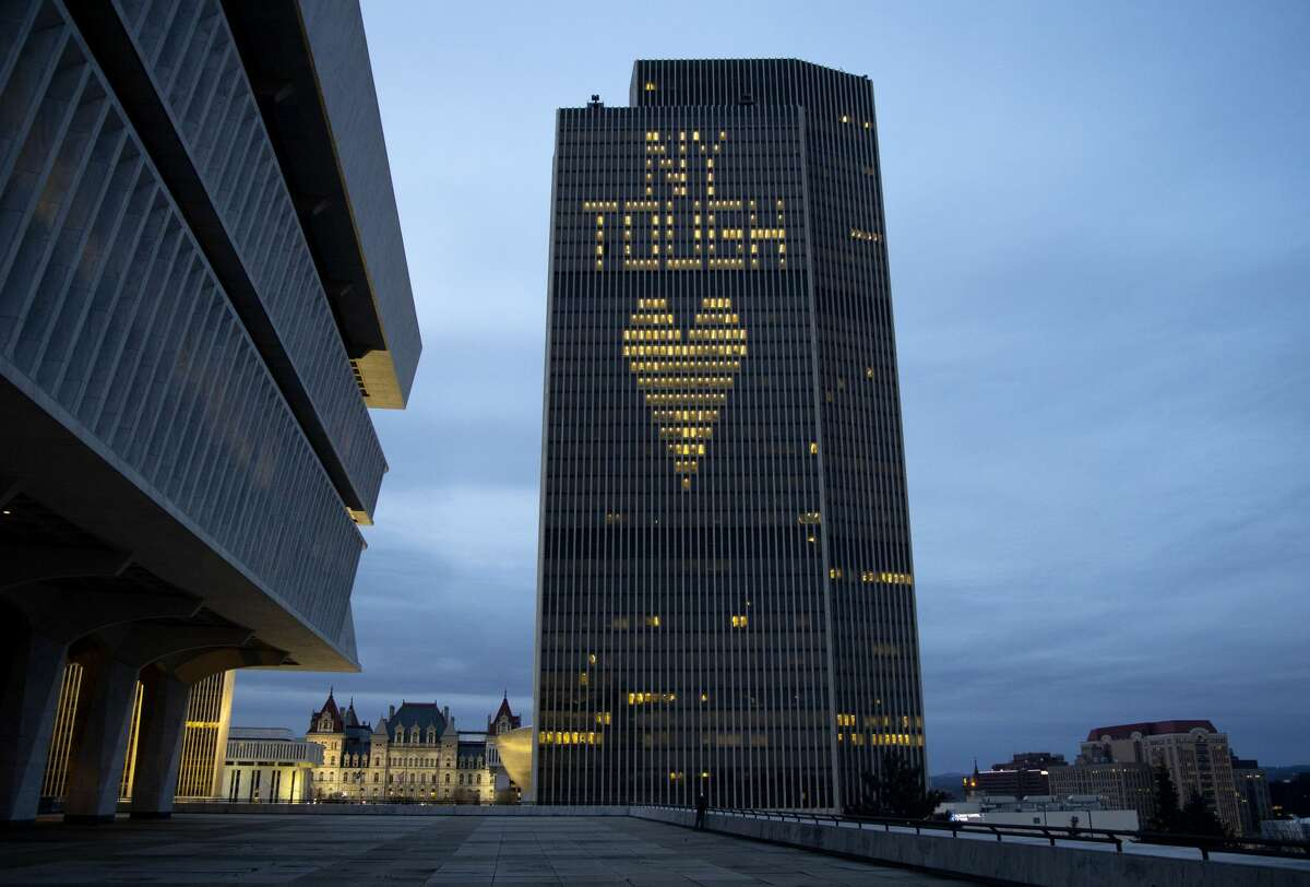 The Corning Tower in Albany arranges its lights in a message of support during the coronavirus crisis on April 23.