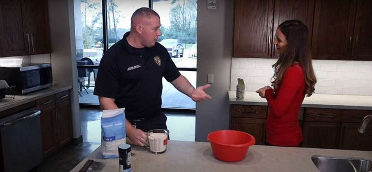 Michelle Merhar and Spring firefighter Jeremie Bricout star in the first episode of the department's new cooking web series