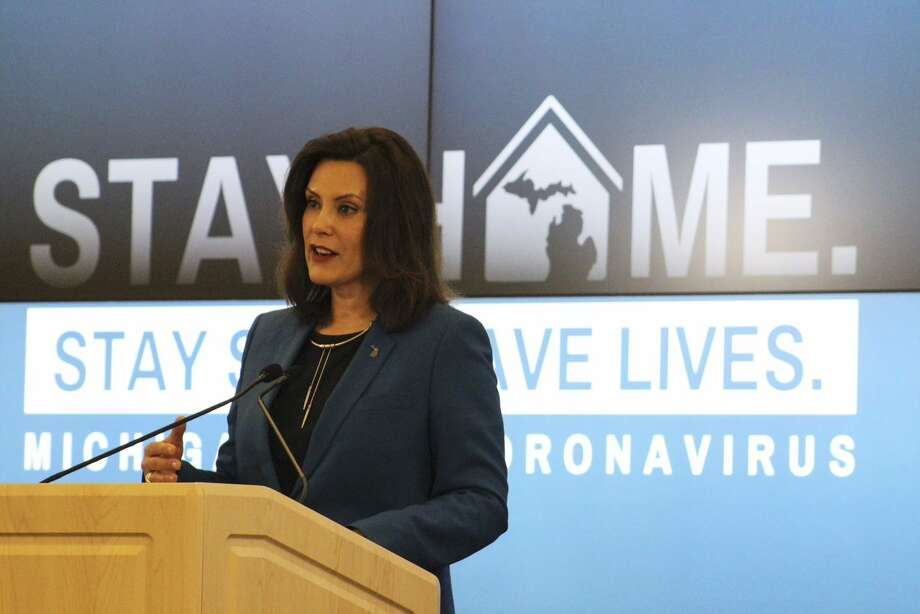 Gov. Gretchen Whitmer speaks during a press conference in this photo provided by the governor's office. Photo: Executive Office Of The Governor