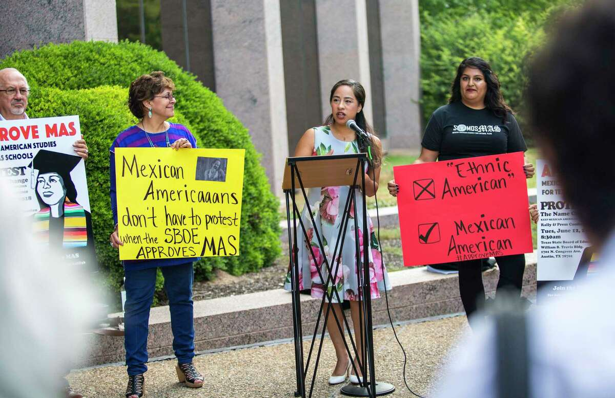 In this 2018 photo, State Board of Education member, Marisa Perez-Diaz, speaks with protesters in support of Mexican American Studies. She also played a key role in creating an elective African American Studies course for high schools. A move that was long overdue, but should also be required learning.