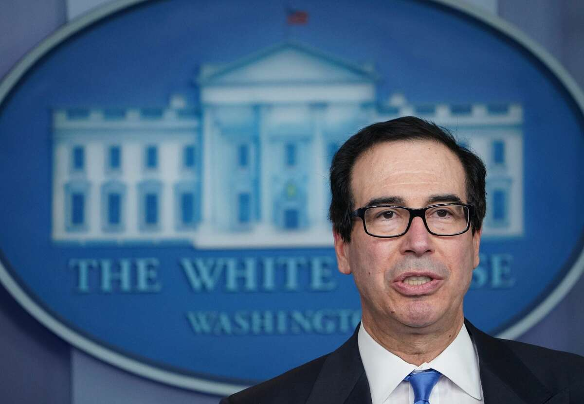 Treasury Secretary Steven Mnuchin speaks during the daily briefing on the novel coronavirus, COVID-19, in the Brady Briefing Room of the White House in Washington, DC on April 21, 2020.