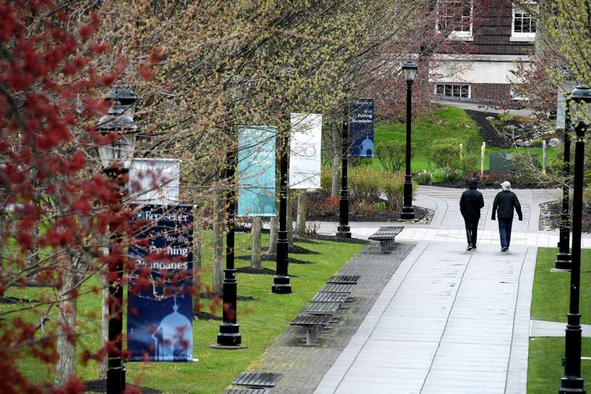 The campus at Rensselaer Polytechnic Institute is quite during the coronavirus lockdown on Friday, April 24, 2020, in Troy, N.Y. (Will Waldron/Times Union)