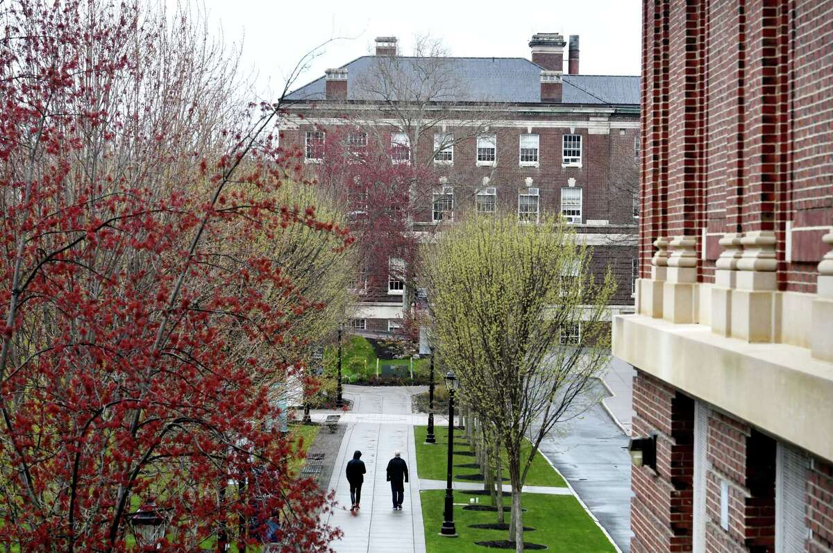 The campus at Rensselaer Polytechnic Institute is quiet during the coronavirus lockdown on Friday, April 24, 2020, in Troy, N.Y. (Will Waldron/Times Union)