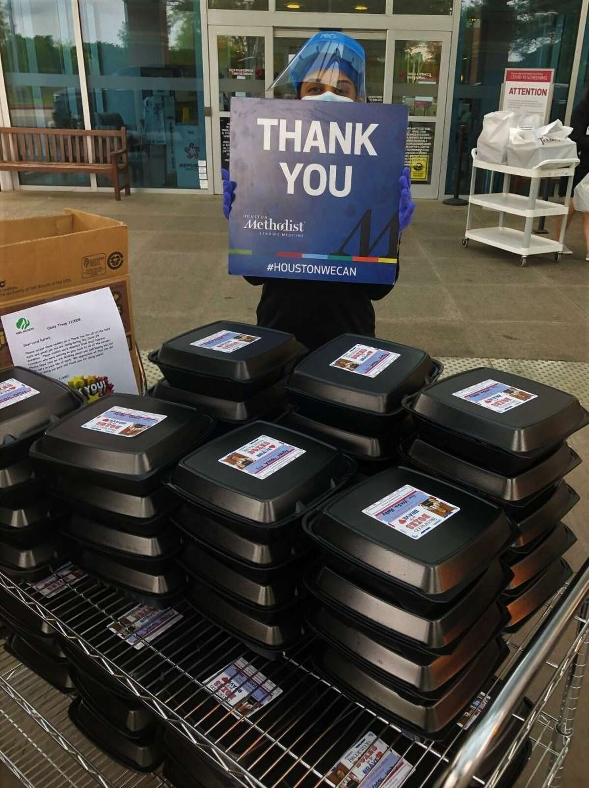 A worker at Methodist Hospital thanks The Brookwood Community and those that purchased takeout meals for frontline workers through the Boxes for the Brave program.