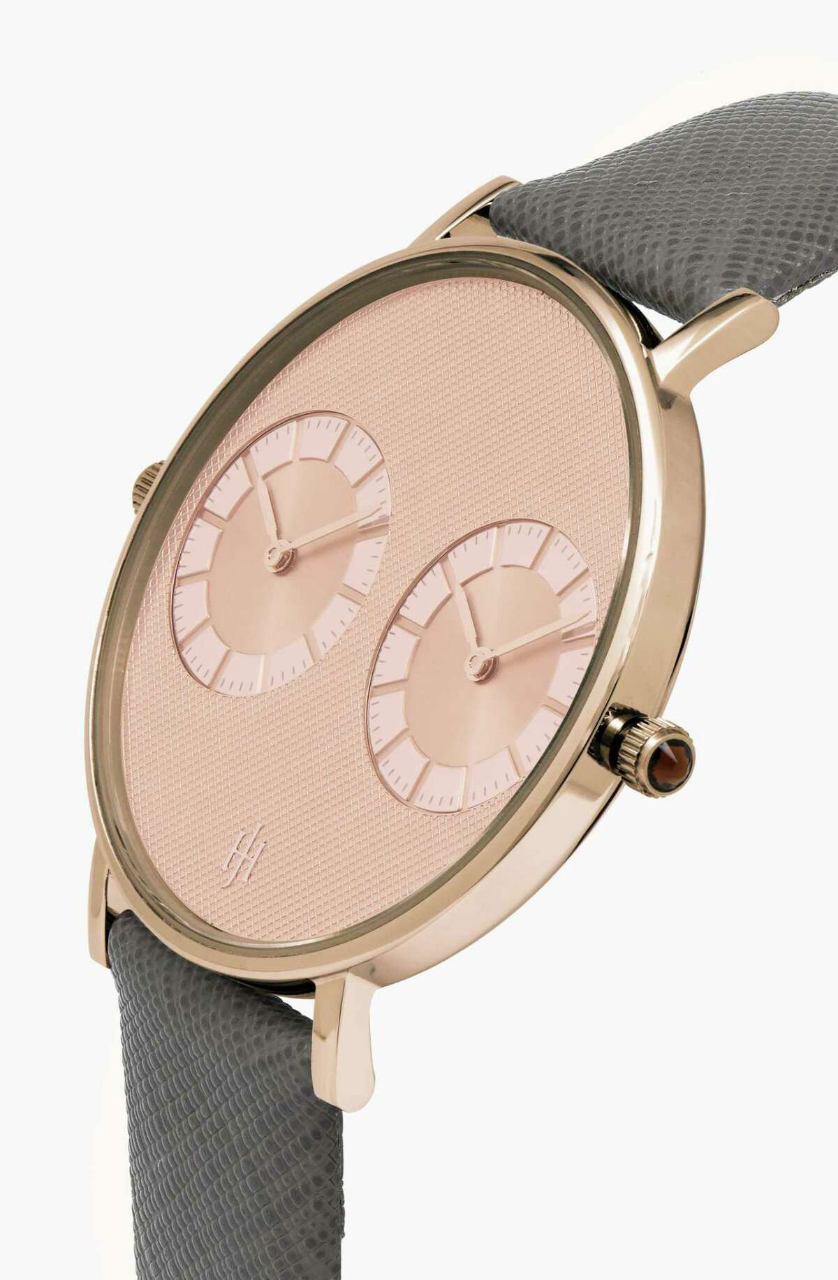 The Janus Dial watch inspired by London features gray and rose gold colors.