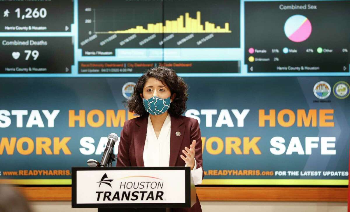 Harris County Judge Lina Hidalgo speaks at a news conference, in April. Al Hartman, CEO of the commerical real estate company Hartman Income REIT Management, Hartman joined a lawsuit against Hidalgo and mask order.