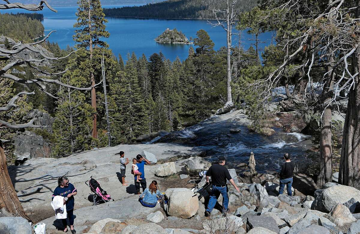 People gather at the Emerald Bay overlook in South Lake Tahoe, Ca., on Thurs. April 23, 2020.