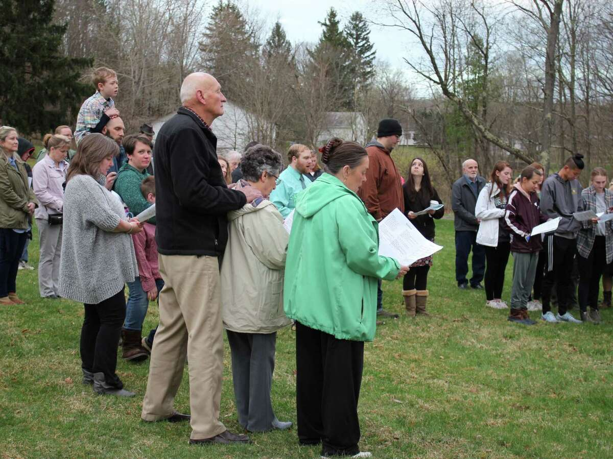 Provided photo This pre-pandemic photo shows the robust turnout for the Brunswick Church's sunrise Easter service last year. The congregation is invited to a worship service at the Hollywood Drive In movie theater in Averill Park starting this Sunday.