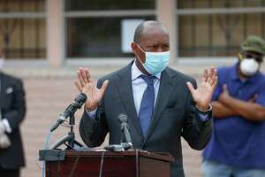 Houston Mayor Sylvester Turner, shown here on April 8, said he would not take up a debate over a sick leave ordinance while businesses and residents are struggling during the economic shutdown prompted by the novel coronavirus.