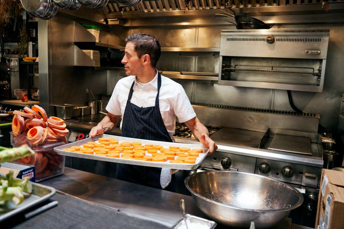 Shortly after shelter-in-place orders were announced March 16, Matthew Accarrino, executive chef at SPQR, debuted Accarrino's - a new takeout concept offered at the San Francisco restaurant. Chef Accarrino is pictured inside SPQR.