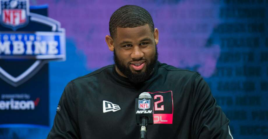 Texas Christian defensive lineman Ross Blacklock answers questions from the media during the NFL Scouting Combine on February 27, 2020 at the Indiana Convention Center in Indianapolis, IN. (Photo by Zach Bolinger/Icon Sportswire via Getty Images) Photo: Icon Sportswire/Icon Sportswire Via Getty Images / ©Icon Sportswire (A Division of XML Team Solutions) All Rights Reserved
