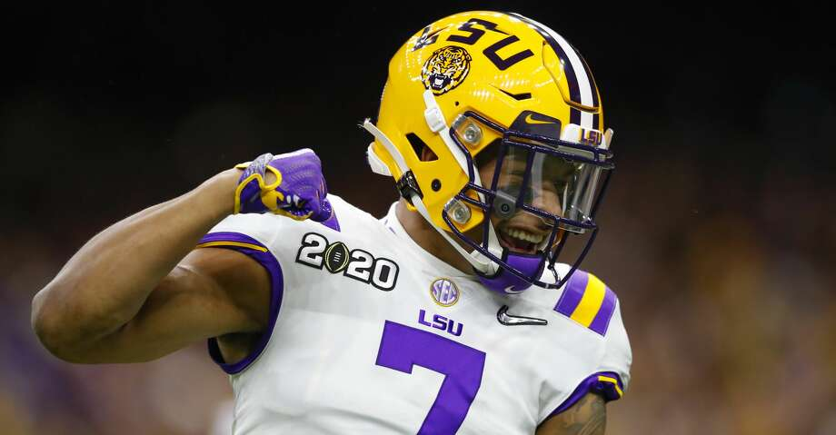 LSU Tigers safety Grant Delpit (7) reacts during the first half of the College Football Playoff National Championship Game between the LSU Tigers and the Clemson Tigers on January 13, 2020 in New Orleans LA. (Photo by Todd Kirkland/Icon Sportswire via Getty Images) Photo: Icon Sportswire/Icon Sportswire Via Getty Images / ©Icon Sportswire (A Division of XML Team Solutions) All Rights Reserved