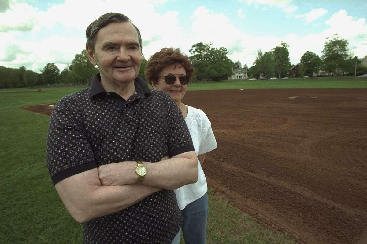 Baseball pitching legend from the 1960's, Steve Dalkowski with his sister, Patti Cain, at Walnut Hill Park in New Britain.