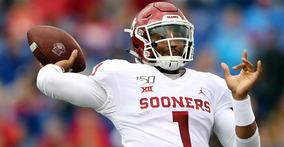 Quarterback Jalen Hurts #1 of the Oklahoma Sooners passes during the game against the Kansas Jayhawks at Memorial Stadium on October 05, 2019 in Lawrence, Kansas. (Photo by Jamie Squire/Getty Images) Photo: Jamie Squire/Getty Images / 2019 Getty Images