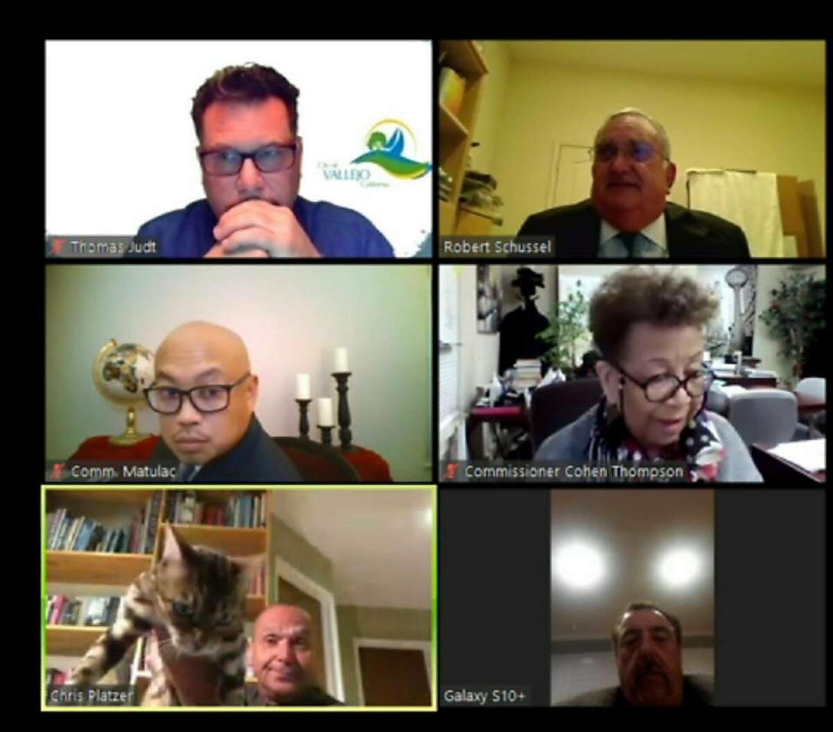 A screengrab from The City of Vallejo website, shows a Zoom video conference of Vallejo Planning Commissioner Chris Platzer throwing his cat during a planning commission meeting on Monday April 20, 2020