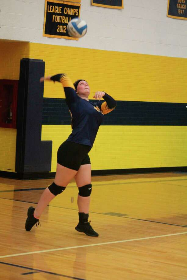Baldwin's Abby Oisten gets set to serve the ball during the 2019 season. (Pioneer file photo)