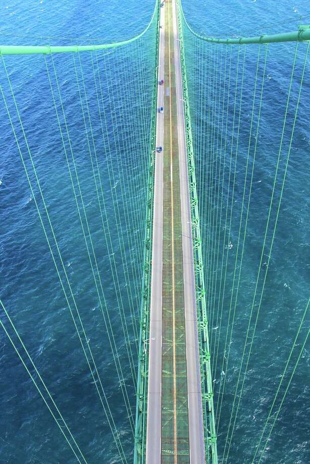 Looking down from the top of the Mackinac Bridge. (Photo courtesy Dawn Laway)