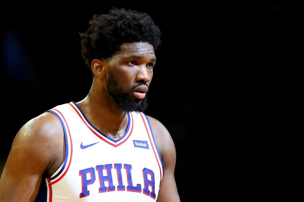 The Philadelphia 76ers' Joel Embiid looks on during a game against the Boston Celtics at TD Garden in Boston on December 12, 2019. (Maddie Meyer/Getty Images/TNS)