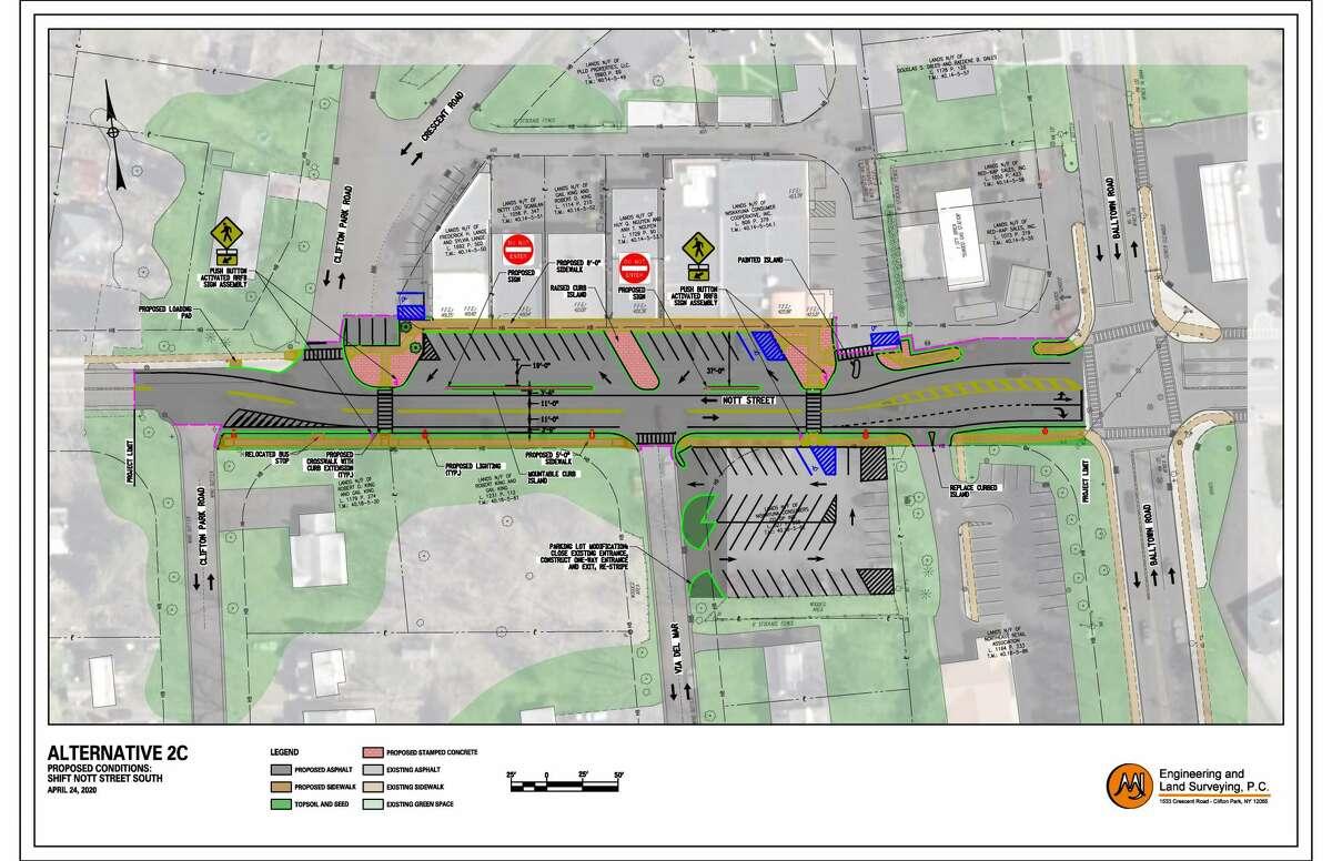 Here's the design plan chosen for the safety improvements at Nott Street, near Balltown Road, Niskayuna.
