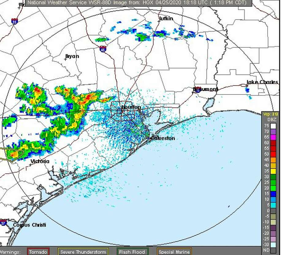 Thuderstorms are pushing through southeast Texas Saturday afternoon, according to National Weather Service Photo: NWS