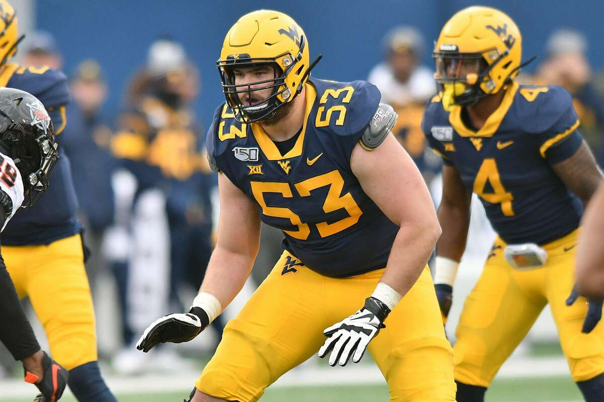 West Virginia offensive tackle Colton McKivitz was selected by the 49ers in the fifth round of the 2020 NFL draft on Saturday, April 25. West Virginia Mountaineers offensive lineman COLTON MCKIVITZ (53) shown during the football game played at Mountaineer Field in Morgantown, WV. The Cowboys beat the Mountaineers 20-13.