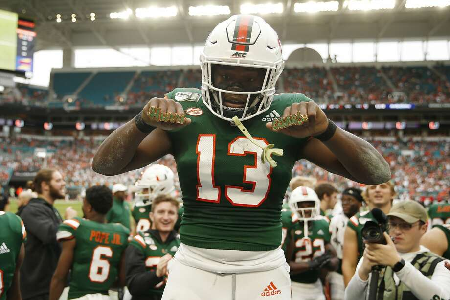 The Seattle Seahawks addressed their running back need in the fourth round of the 2020 NFL Draft Saturday, selecting Miami's DeeJay Dallas at No. 144 overall. Photo: Michael Reaves/Getty Images / 2019 Michael Reaves
