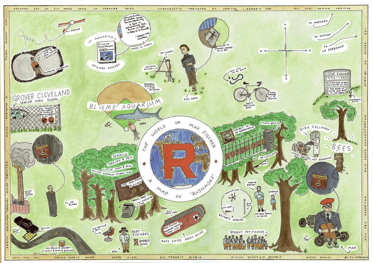 Map from filmmaker Wes Anderson's Rushmore created by Eric Chase Anderson, courtesy of Criterion Collection Credit: Eric Chase Anderson HOUCHRON CAPTION (06/12/2005-2-STAR) SECNEWS COLORFRONT: ON THE MAP: Anderson's map of Rushmore was among the first illustrations he made for his filmmaking brother. HOUCHRON CAPTION (06/12/2005) SECZEST: MAX FISCHER'S WORLD: Eric's map of Rushmore was among the first illustrations he made for brother Wes to use with his films.