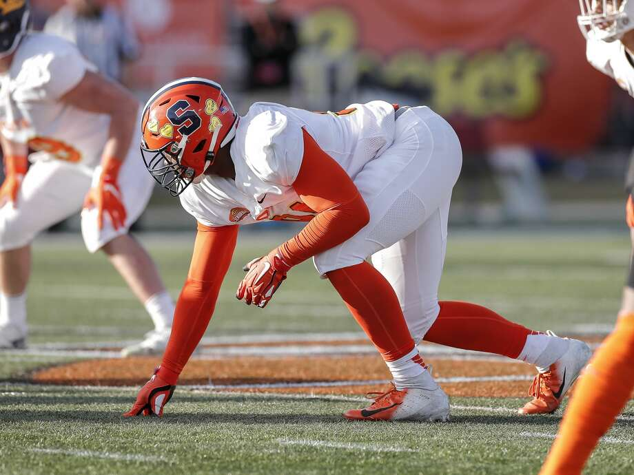 The Seattle Seahawks selected former Syracuse defensive end Alton Robinson in the fifth round of the 2020 NFL Draft on Saturday at No. 148 overall. Photo: Don Juan Moore/Getty Images / 2020 Don Juan Moore